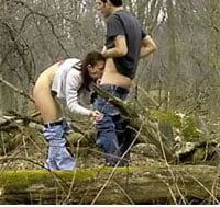 wife sucking cock in the woods