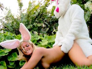 Hot naked blonde fucked by Easter Bunny