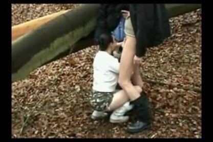 Horny slut sucks an old man's cock in the woods