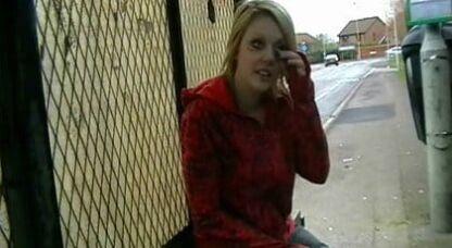 Blonde chick flashing at bus stop