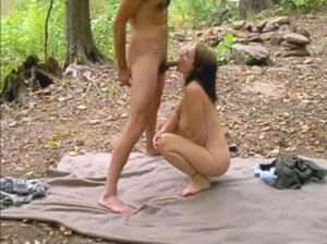 She loves sex outdoors and shows it in this video of her sucking cock and fucking in the woods