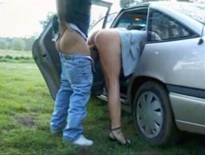 Dogging wife fucked from behind outside of car by stranger