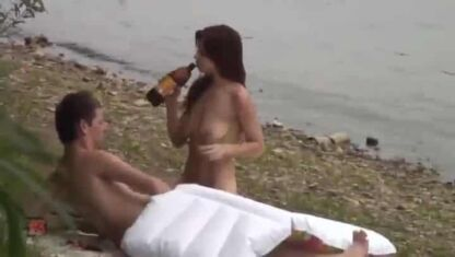 Taking a break from fucking by the river to drink a 40