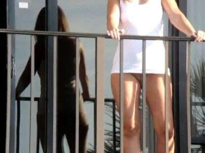 Wife with no panties on the hotel balcony