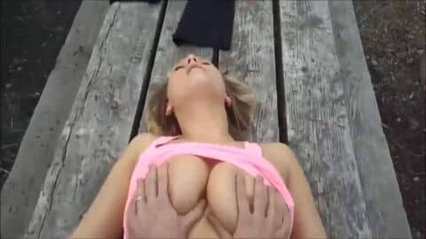 POV - nice tits squeezed while she gets fucked on a picnic table