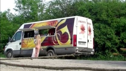 Naked woman ordering at the food truck