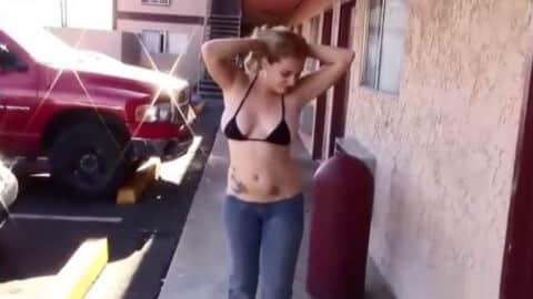 Exhibitionist Girl Bikini Top Outside Motel