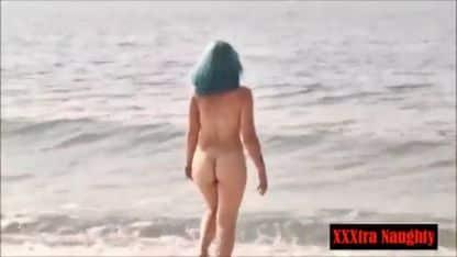 Naked Punk Girl Skinny Dipping In The Ocean