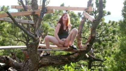 Beautiful Redhead Masturbating In A Tree