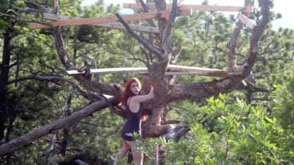 Girl with No Panties Climbing Tree