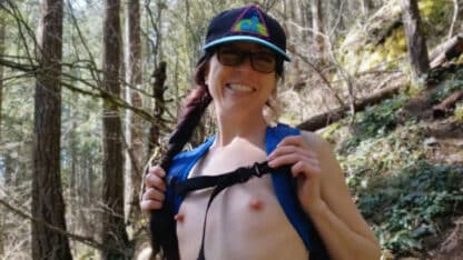 Naked Female Hiker with Tiny Nipples and a Big Smile